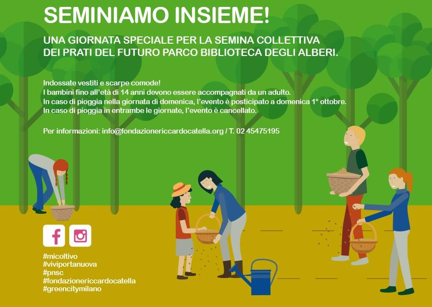 """Milano,  Fondazione Catella  invita a seminare insieme  la  """"La Biblioteca degli Alberi"""" a Porta  Nuova"""
