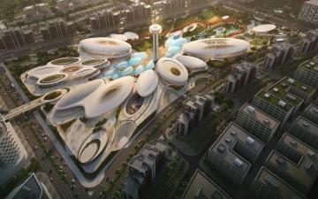 """Sharjah, UAE ,  ZHA   completerà  nel primo quarter  2019  la  Fase  uno  del  """"Central Hub""""  di  Aljada"""